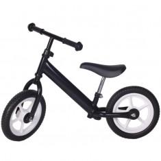 Bicicleta fara pedale neagra cu jante albe