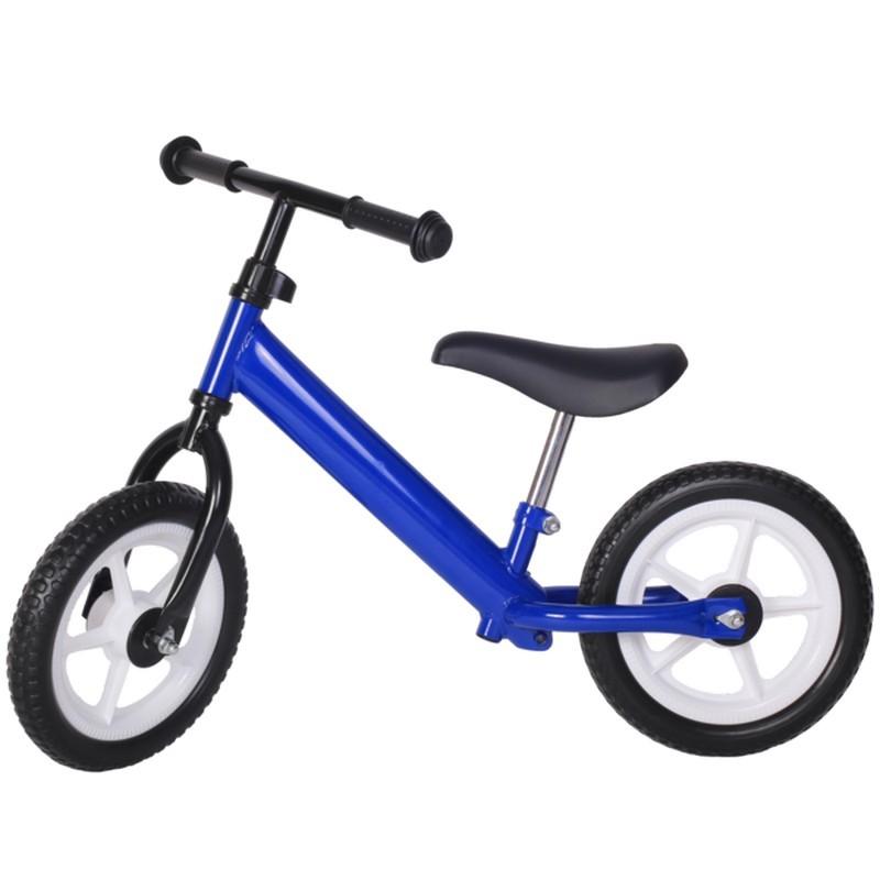 Bicicleta fara pedale albastra închis cu jante albe