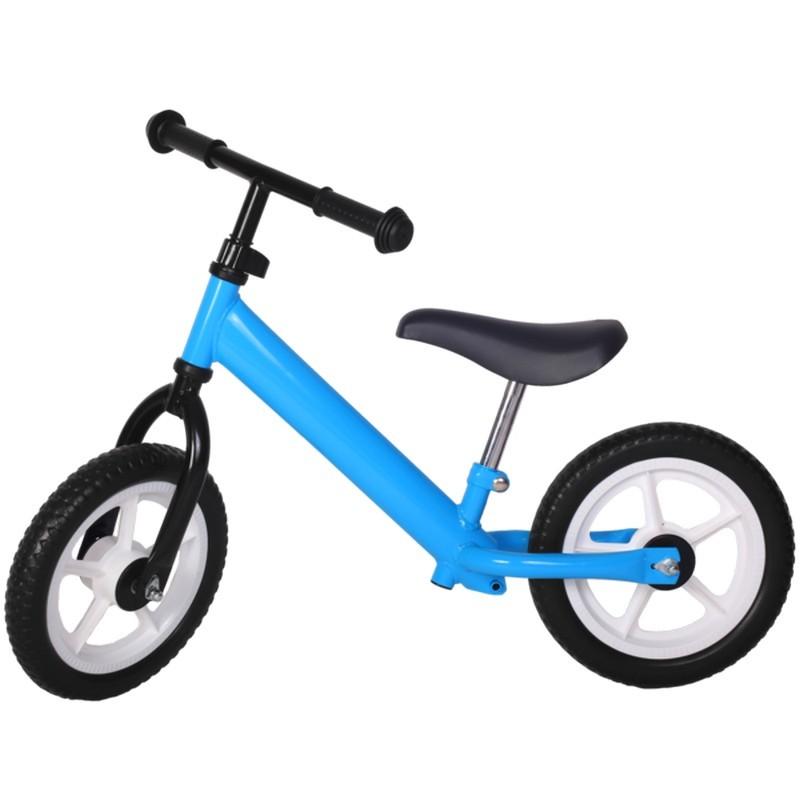 Bicicleta fara pedale albastra cu jante albe