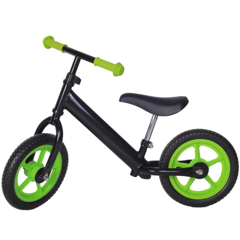 Bicicleta fara pedale neagra cu jante verzi