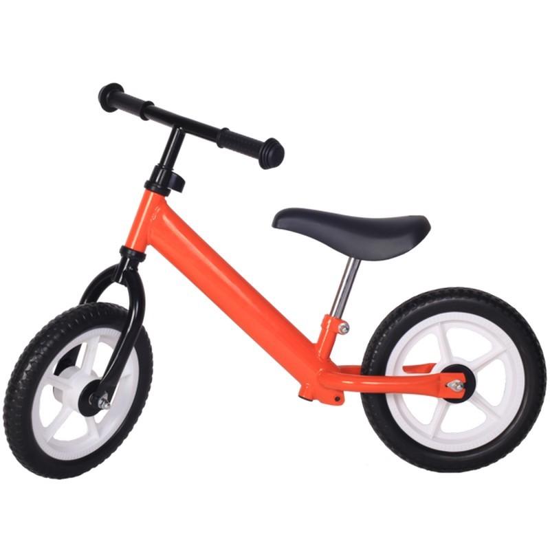 Bicicleta fara pedale portocalie cu jante albe