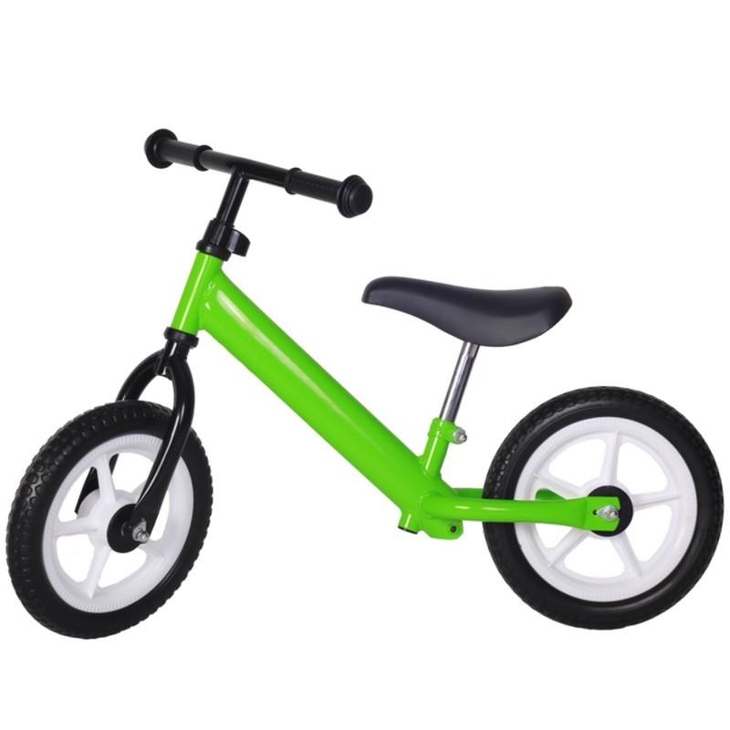 Bicicleta fara pedale verde cu jante albe