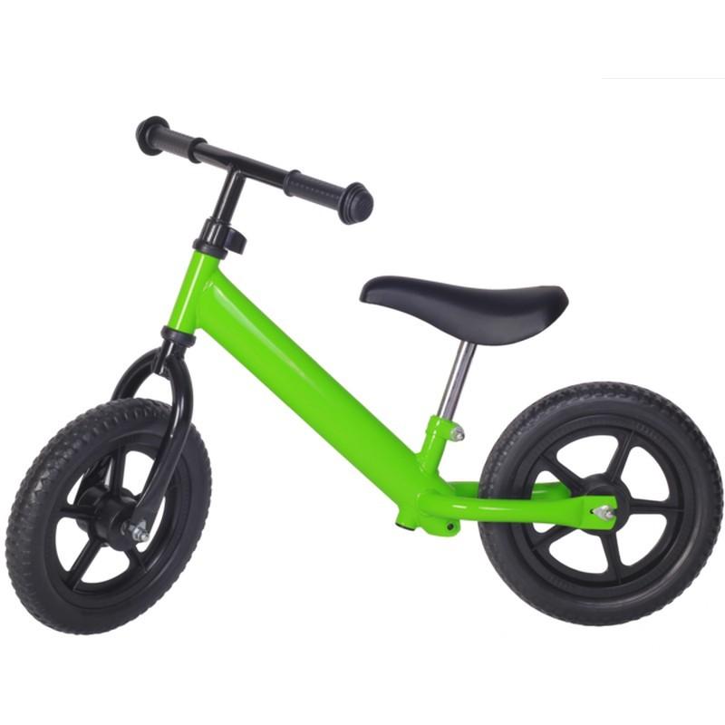 Bicicleta fara pedale verde cu jante negre