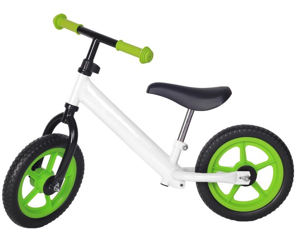 Bicicleta fara pedale alba cu jante verzi