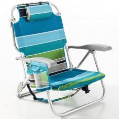 Scaun multi color cu dungi de plaja 3 in 1 - ideal pentru plaja, gradina si camping