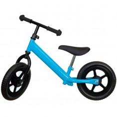 Bicicleta fara pedale albastra cu jante negre