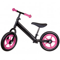 Bicicleta fara pedale neagra cu jante roz