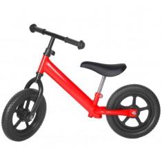 Bicicleta fara pedale rosu cu jante negre