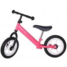 Bicicleta fara pedale roz cu jante albe