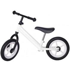 Bicicleta fara pedale alba cu jante albe