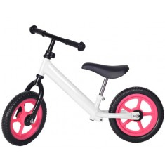 Bicicleta fara pedale alba cu jante roz