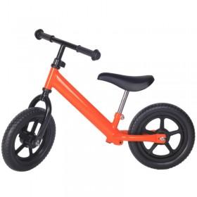 Bicicleta fara pedale portocalie cu jante negre