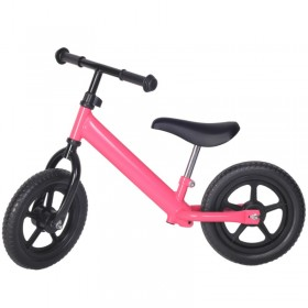 Bicicleta fara pedale roz cu jante negre