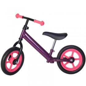Bicicleta fara pedale violet cu jante roz